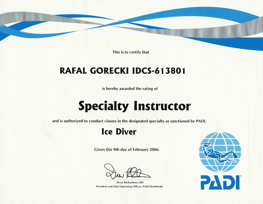 aquamatic padi ice diver wroclaw