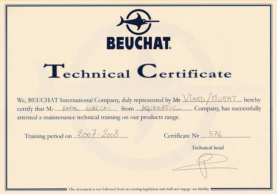 aquamatic technicl certificate centre