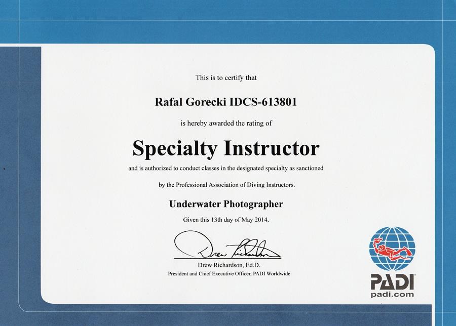 aquamatic padi specjality instruktor diver centre