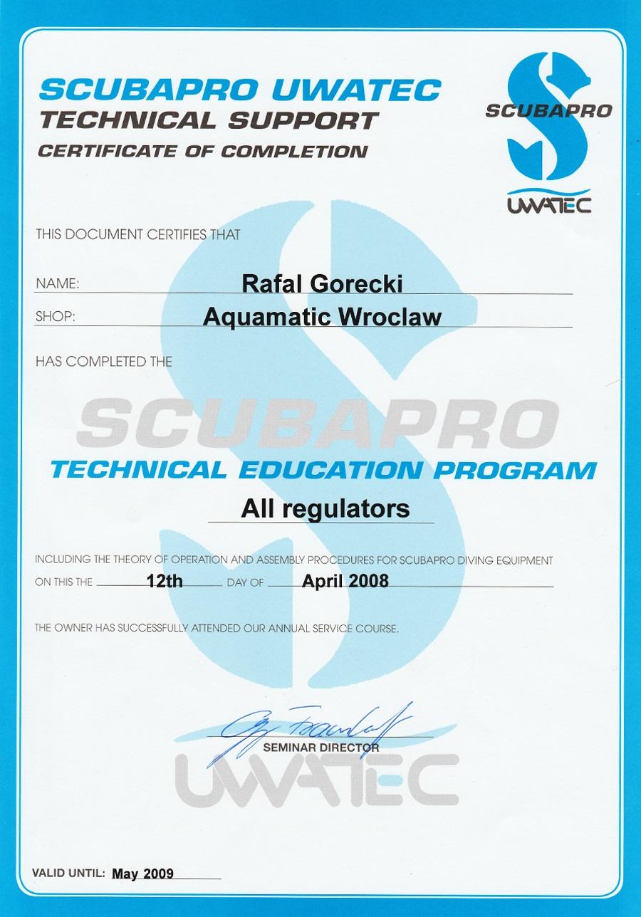 aquamatic scubapro service wroclaw
