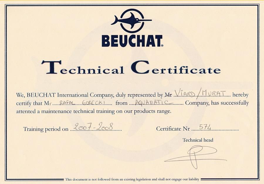 aquamatic technicl certificate centre